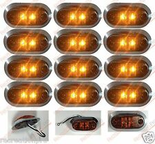 "12 NEW 3.25""x1.75"" AMBER LED SURFACE MOUNT CLEARANCE MARKER LIGHT w/CHROME BEZEL"