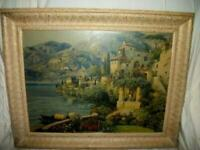 ANTIQUE LAKE COMO ITALY VILLA PRINT TEXTURED GILT FRAME Lg VINTAGE 1930's