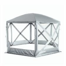 SlumberTrek Flexion 6 Sided Gazebo Canopy with Mesh Screen Net Silver (Open Box)