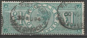 Great Britain QV 1887 SG 212 £1 green used