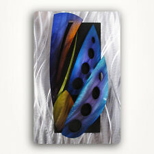 Modern 3D Abstract Metal Wall ArtWorkTropical Painting Sculpture Large Blue Art