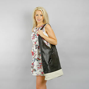Boulevard Chelsea Large Leather Handbag/Shoulder bag. Dark Brown/Cream