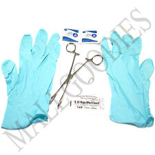 W121 Nose 16G Piercing Kit Clamp Ring Needle Gloves Alcohol Wipes 7pc Set Stud