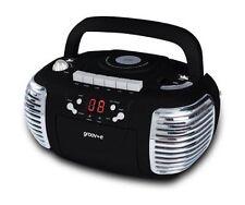Groov-e Gvps813bk Retro Boombox Portable CD & Cassette Player With Radio Black