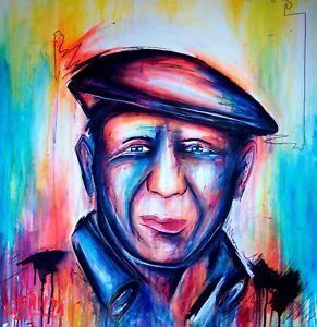 C. FANTA Picasso ORIGINAL Bild portrait Kunst GEMÄLDE Leinwand MALEREI abstrakt