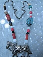 Antique Chinese Silver HORSE Necklace Coral Turquoise Jade Copal Amulet TRIBAL