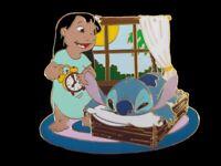 Disney Auctions - Lilo & Stitch -Lilo with Alarm Clock Waking Up Stitch LE Pin