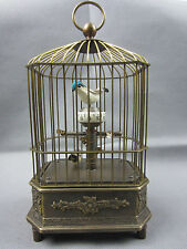 Collectible Decorated Old Handwork Copper The bird Mechanical Table Clock