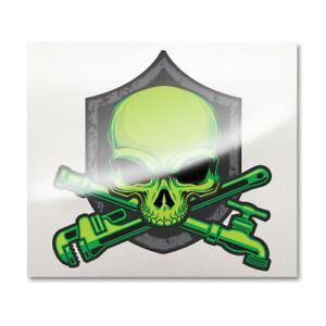 Plumber skull decal - Plumbing crossbones sticker - Plumbers jolly roger Shield