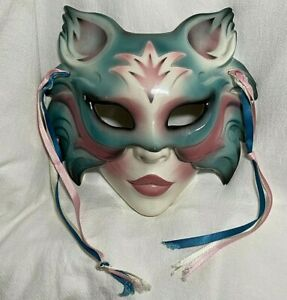 Vintage 1980's About Face Clay Art Ceramic Cat-Woman Mask Wall Decoration