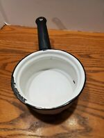 """Vintage Small 41/2"""" white and black and white Sauce Pan."""
