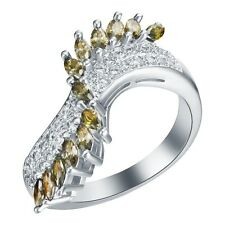 Bold Peridot & AAA White CZ S/Silver 925 Ring Size 8.5 Weimaraner Rescue