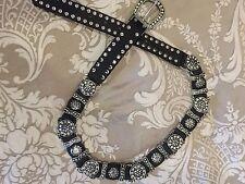 Women's -Leather Belt With Swarovski Crystal Worn 1X