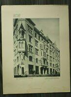 Jugendstil Architektur 1904 Prag Plattner- Valentingasse Alois Dlabac ++ 31x40cm