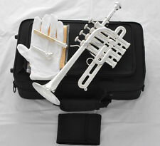 Professional Silver Plated Piccolo Trumpet Bb/A horn 4 Monel Piston With Case