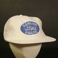 Ford Parts Patch Trucker Hat Cap Mesh Snapback White Blue Hipster Retro USA Made