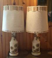 Awesome Pair Of Mid Century MCM Brown Ivory Table Lamps With Shades Flowers