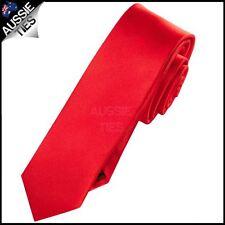 Mens Cherry Red Plain Skinny Necktie Men's slim thin narrow