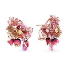NEW Russian Earrings flower alpana Rose gold plated Sterling Silver fine jewelry