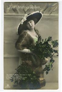 c 1912 European Glamor:PRETTY LADY w/ BIG HAT photo postcard
