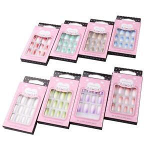 False Nails Medium 2 Tone Colour Full Nail Acrylic French Artificial Nails Glue