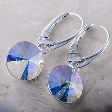 925 Sterling Silver Dangle Earrings Crystal AB Rivoli 12 mm Swarovski® Crystals