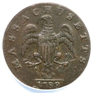1788 8-C ANACS VF 30 Massachusetts Colonial Copper Cent 1c