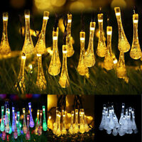 Solar String Lights 20 30 50 LED Waterdrop Raindrop Fairy Light Xmas Party Decor