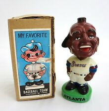 Vtg Atlanta Braves MLB Ceramic Baseball Mascot Nodder Bobblehead Figurine w Box