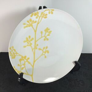 """Stoneware By Wild Olive For Pier 1 Imports 10.5"""" Plate White Yellow SUNNY BRANCH"""