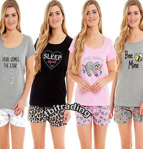 Ladies Shorty Pyjamas Short Sleeve Set Nightwear Pjs Loungewear Cotton Size 8-22
