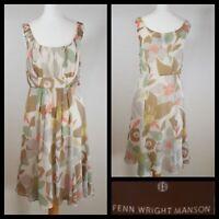 Fenn Wright Manson Silk Dress Cream Teal Beige Floaty Floral Print Size UK 8