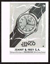 1950s Small Vintage 1951 Jenny Frey Jenco Swiss Watch Paper Print Ad