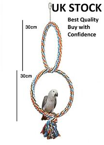 Parrot Double Rope Ring Swing  Cage swing bird toy Chewing Toy