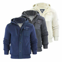 Mens Hooded Cardigan Crosshatch Charnock Heavy Knitted Hoodie Jacket With Fleece