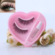 Nice 100%  Soft 3D Mink Fur Thick Cross False Eyelashe With Eyelashes Glue