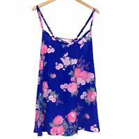 TORRID 3 Sophie Blue Neon Pink Floral Swing Cami Tank Top Sleeveless Lace Up 3X