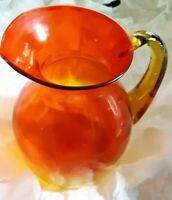 Art Glass Orange and Yellow Glass  Pitcher  ~ 1960's ~ Vintage
