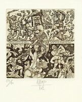 Fight with Beasts, Nude, Dragon Archery Ex libris Etching by H. Jurgens, Germany
