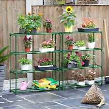 4 TIER FLOWER STAGING DISPLAY PLANT STAND GREEN HOUSE METAL RACKING SHELVING UK