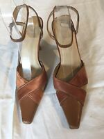Brand New Ladies Brown Leather/ Textile Sandals Size 5 (17C).