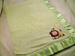 CIRCO TARGET  LION BIRD SUN JUNGLE ZOO LOVEY BABY  BLANKET GREEN W/ SATIN TRIM