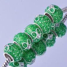 Tibetan White Gold european spacer beads charms murano for bracelets lot  5pcs