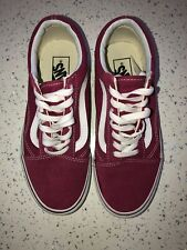 Women's Girls Burgundy Vans Shoes Trainers Genuine Worn Once Size UK 4.5