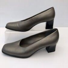 Clarks Uk 5.5 Cushion Soft Womens Pewter Metallic Court Shoes Heels Size  EU 39
