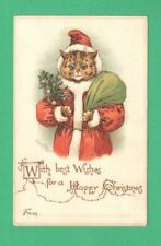 RARE LOUIS WAIN CHRISTMAS POSTCARD CAT-SANTA CLAUS TREE SACK