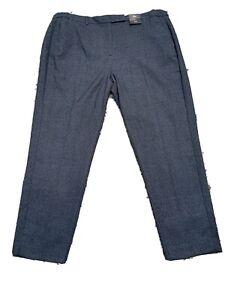M&s Navy Mix Checked Slim Ankle Grazer Trouser Size 20 Reg Bnwt Sameday Postage