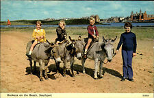 Southport England Great Britain ~1960/70 Donkeys Esel Beach Kinder mit Eseln