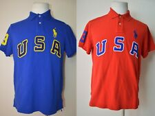 Ralph Lauren Polo Lot of (2) Big Pony Embroidered USA Men's Shirt L (Fits Med)