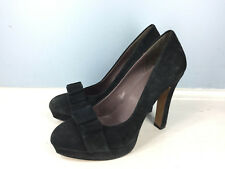 MRKT Black Suede Leather Platform bow Heels Pumps 8 Cocktail Career